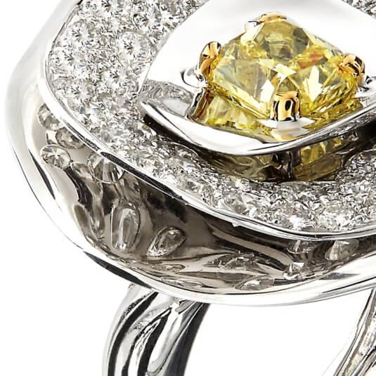 Bague Petula - Zenith - Or blanc 750/1000° - Diamant jaune