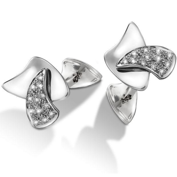 Boutons de manchette or blanc et pavage diamants vela7 de lelieur joaillier designer createur