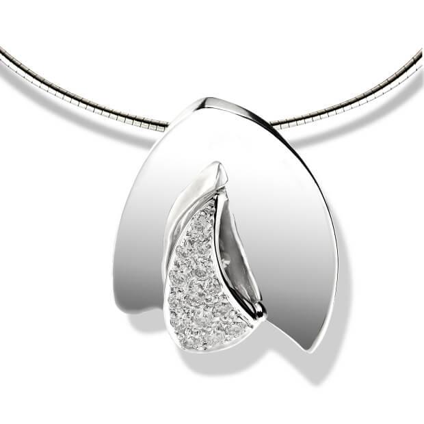 Pendentif Alpha Bravo - Or blanc et diamants
